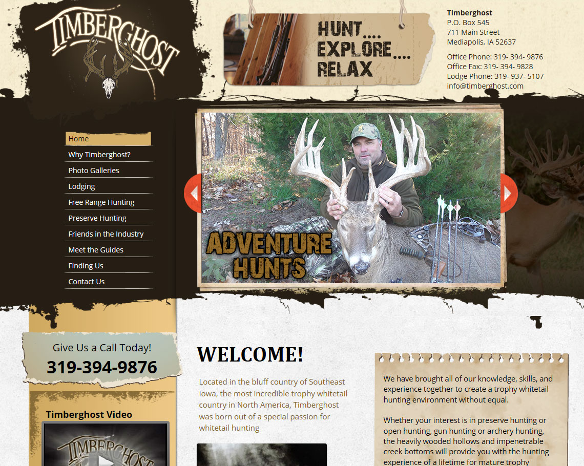This website was designed for a Hunting Lodge in Iowa.  Timberghost had a previous site from another designer, but they were not pleased.  They are completely happy with their new website and they can update and manage the content at any time on their own!  http://www.timberghost.com