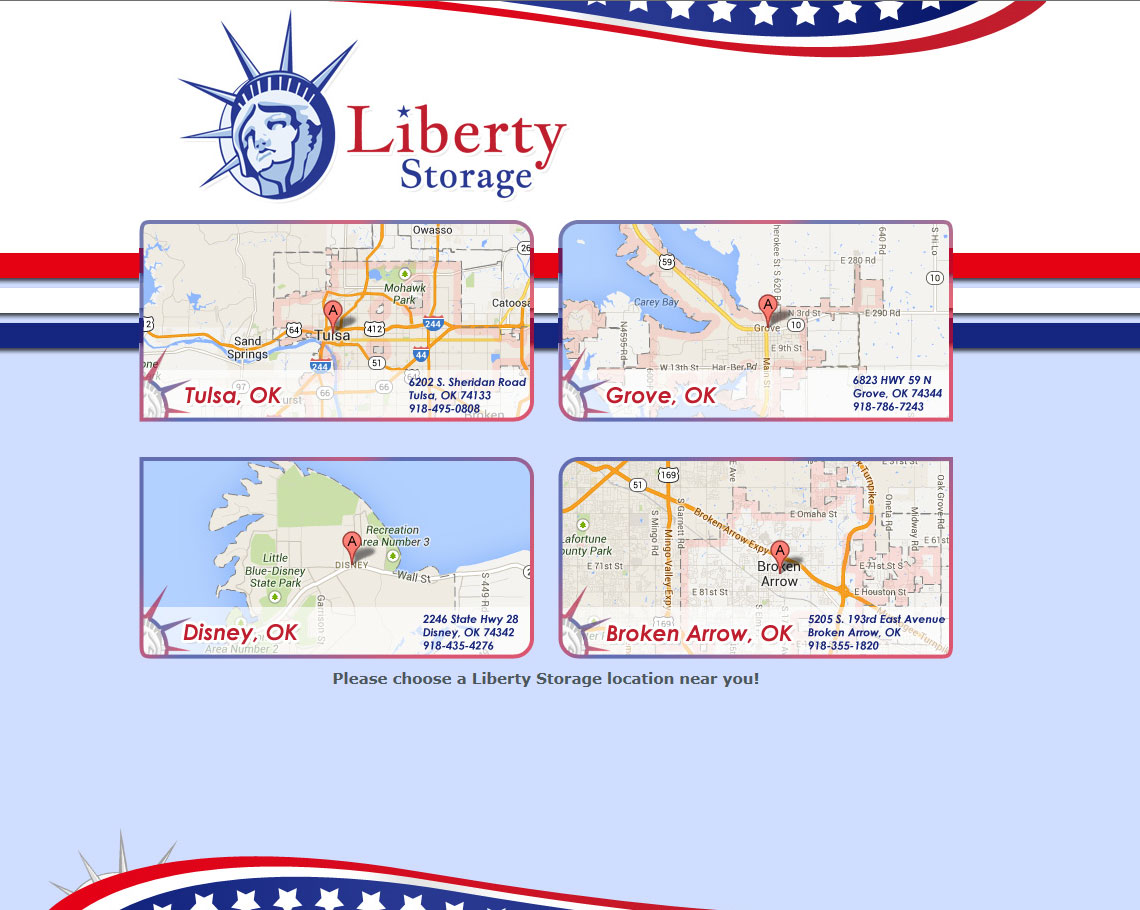 Liberty Storage is a Storage facility in Oklahoma.  They have several locations and needed a website that allowed each location to update it's own information.  It has a simple, yet sleek design and meets their needs nicely.  http://www.libertystorageok.com