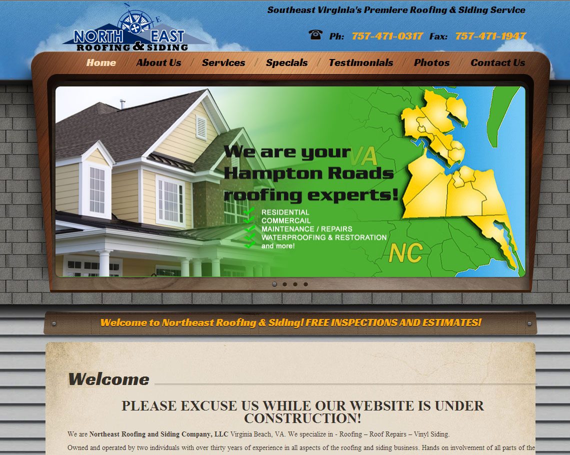 A southeastern Virginia Roofing and Siding company that has needed a website for many years.  They now have a fully content manageable website that will showcase all of their work in a beautiful website.  http://www.vabeachroofing.com