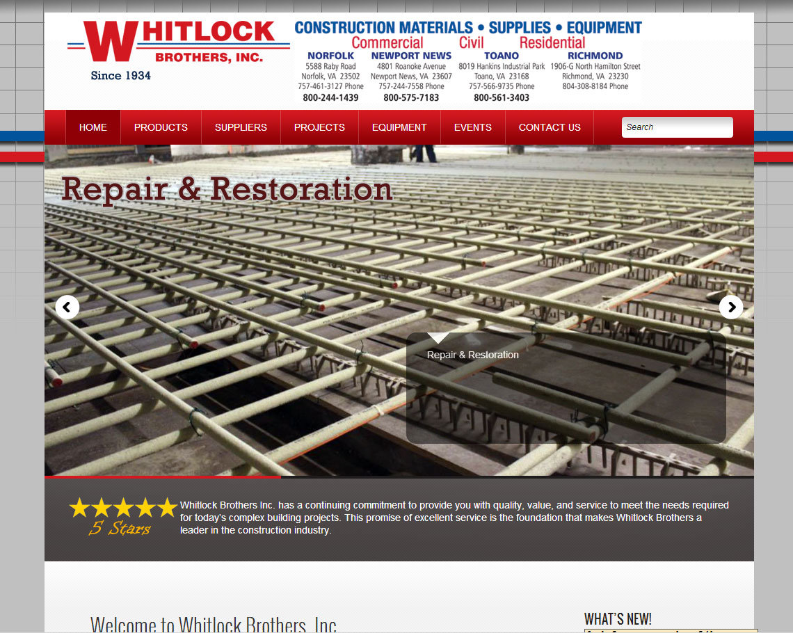Whitlock Brothers needed a good content management solution.  Their old website was a template design from Superpages that had a horrible design and they got very little business from it.  The new website is completely content manageable and has a great industrial look for their large construction supply business.   http://www.whitlockbrothers.com