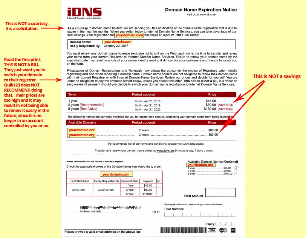 IDNS Domain Solicitation SCAM