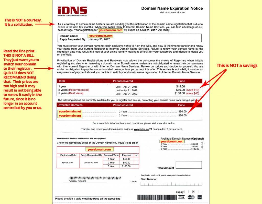 IDNS Domain Solicitation SCAM