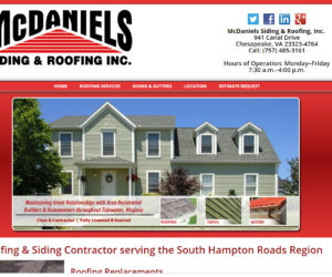 McDaniels Siding and Roofing Web Design Project